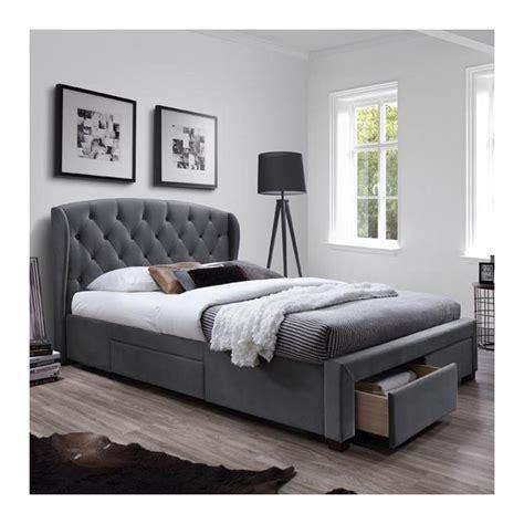 lit  cm gris avec tete de lit capitonnee  tiroirs
