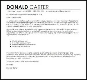 receptionist exle cover letter veterinary receptionist cover letter sle letter sles livecareer