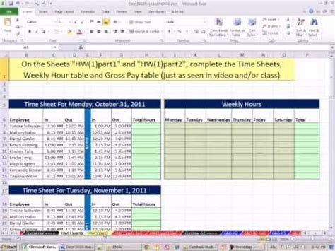 excel  business math  payroll time sheets