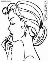 Makeup Coloring Pages Colouring Lady Print Colorings sketch template