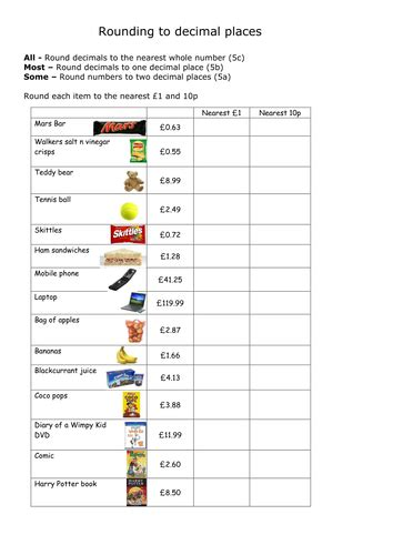 rounding to the nearest whole and 1 decimal place by whistleandsums teaching resources