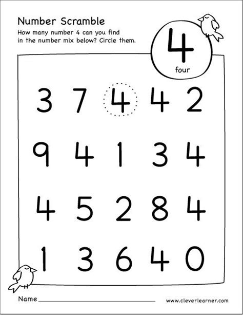 number 4 preschool worksheet free number scramble activities for preschool 359