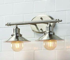 Brushed Nickel Bathroom Light Fixtures home decorator 2 light brushed nickel retro bathroom wall