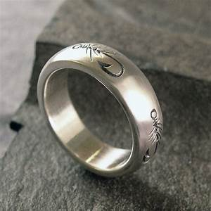 fly fishing ring wedding band sterling silver With fishing wedding ring