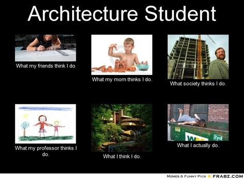 Architecture Memes - architecture student what people think i do what i really do perception vs fact