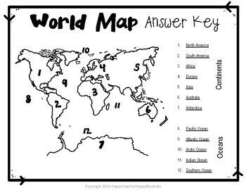 world map world map quiz  map worksheet  continents