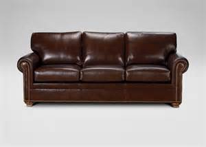 ethan allen conor leather sofa omni brown