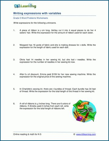 word problems with variables and expressions k5 learning