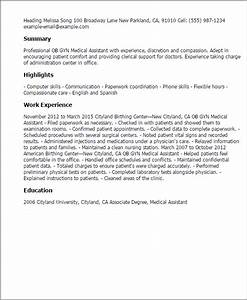 Therapy Resumes Samples Professional Ob Gyn Medical Assistant Templates To