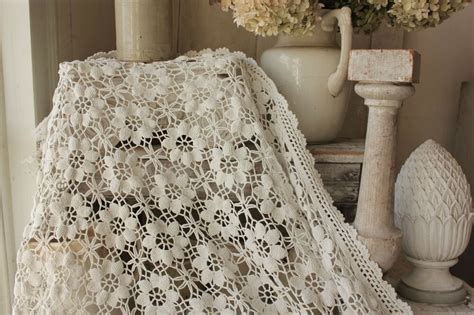 Lace Coverlet Bedding by Vintage Handmade Made Crochet Coverlet Bed Cover Lace