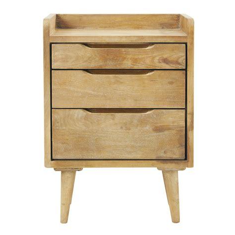 chambre bébé en bois massif table de chevet vintage avec tiroirs en manguier l 45 cm