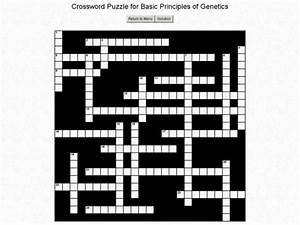 Crossword Puzzle For Basic Principles Of Genetics