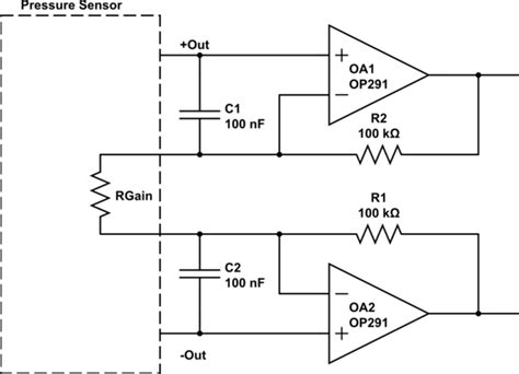 Pressure Transducer Circuit Diagram by Filter Suppressing Interference In A Pressure Sensor