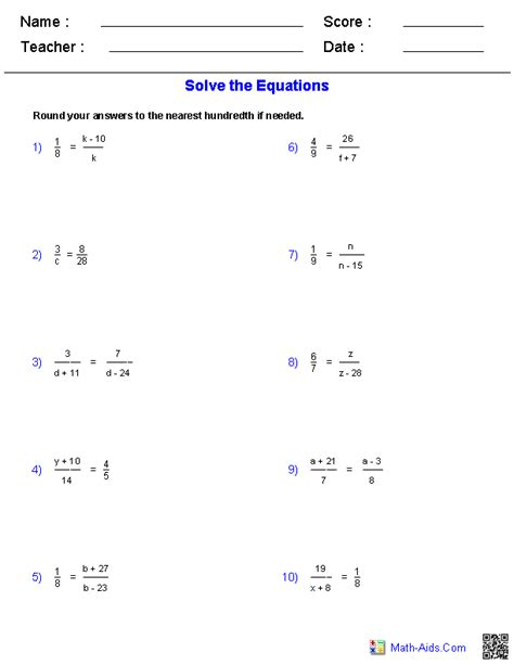 solving proportions equations worksheets