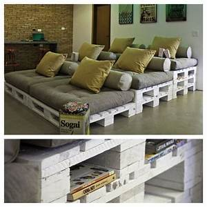 Diy stadium style home theater seating futon mattress for Pallet furniture home theater