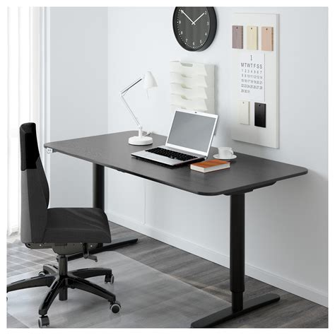 sit stand office desk bekant desk sit stand black brown black 160x80 cm ikea