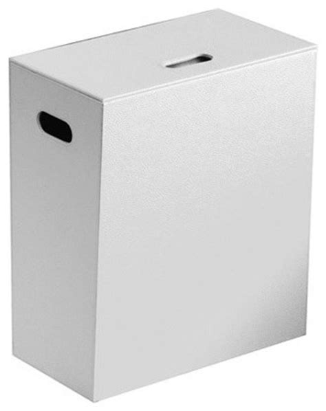 White Faux Leather Laundry Basket - Contemporary - Hampers