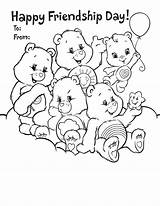 Coloring Friendship Pages Printable Friends Friend Quotes Card Care Bears Cards Bear Bff Sheet Printables Happy Activity Colouring International Wonderheart sketch template