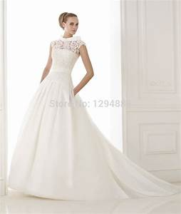 2015 new arrival fashion ball gown high white lace and With ball gown wedding dress with pockets
