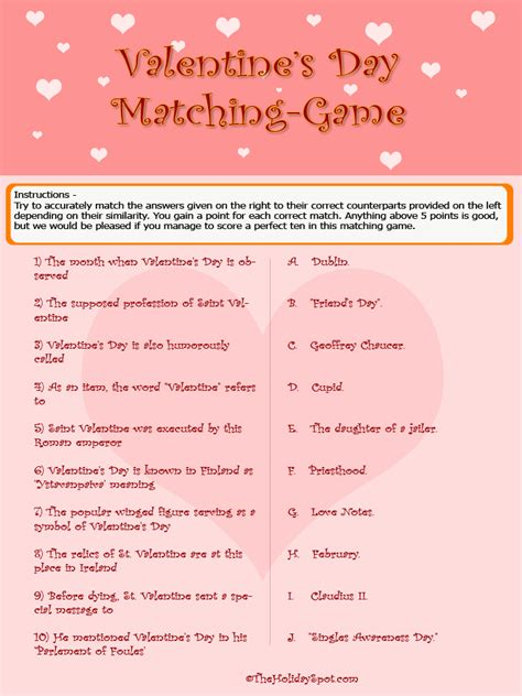 valentines day matching game puzzle color verson