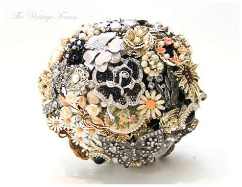 Vintage Bridal Brooch Bouquet Black Silver Coral Gold