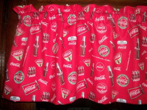 Coca Cola Coke Soda Bottle Vtg Red Logo Fabric Curtain