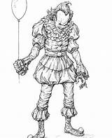 Scary Clown Halloween Coloring Pages Horror Drawing Drawings Comic Pennywise Clowns Adult Draw Dancing Books Creepy Artists Pencil Movies Evil sketch template