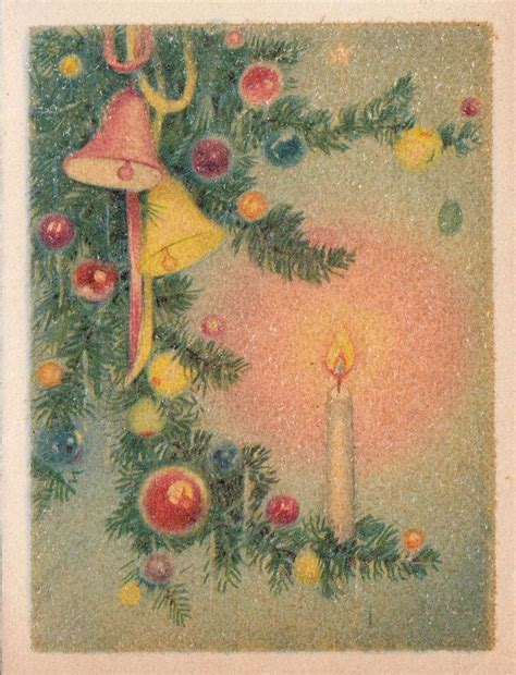vintage traditional christmas card vintage greeting card christmas candle bells ornaments gibson r843