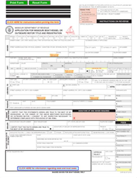 Missouri Boat Registration by Form 93 Fillable Application For Missouri Boat Vessel Or