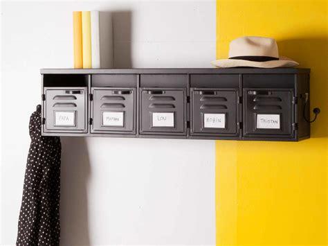 etagere bureau etagère murale 5 casiers en métal noir et 2 patères l100cm