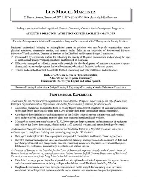 Sle Athletic Resume by Athletic Director Resume Resumes Resume Manager