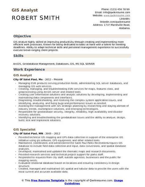 Gis Analyst Resume Sle by Gis Analyst Resume Sles Qwikresume