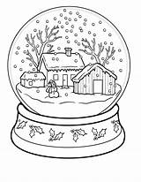 Coloring Winter Adults Scenery sketch template