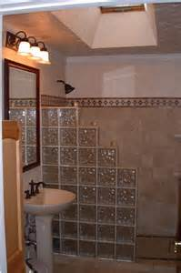 Glass Block Shower with Half Wall