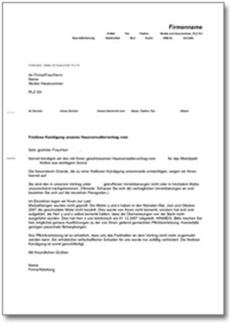 vermieterbescheinigung haus und grund k 252 ndigung hausverwaltervertrag fristlos de musterbrief