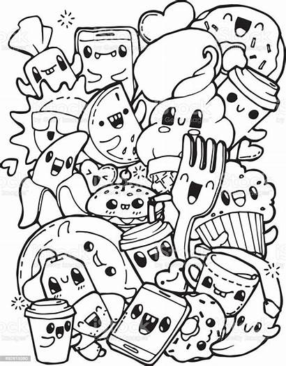 Coloring Pages Dinner Adult Doodles Breakfast Anti