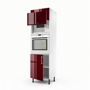 Meuble Pour Four : meuble de cuisine colonne rouge 3 portes griotte x x cm leroy merlin ~ Teatrodelosmanantiales.com Idées de Décoration