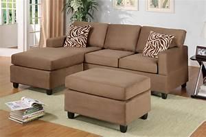 Modern small saddle plush microfiber sectional sofa for Plush sectional sofa with chaise