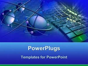 Powerpoint Template  Blue Atoms With Purple Electrons And