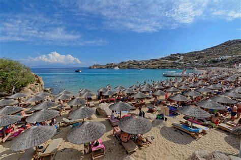 Super Paradise Beach In Mykonos Island Greece Mykonos