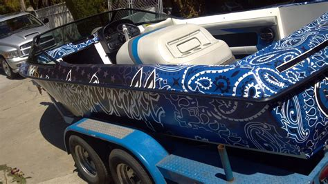 Vinyl Wrap For Boat Near Me by Custom Boat Wraps Quot Blue Bandana Wrap Quot Designed To Your