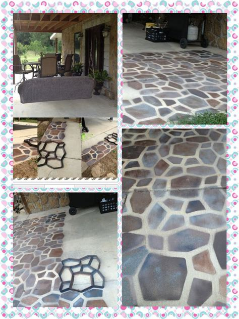 a stone patio floor with spray paint i previously posted
