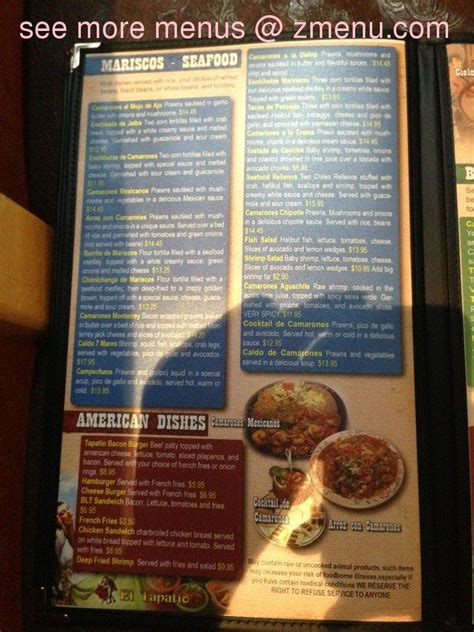 menu of el tapatio mexican restaurant restaurant