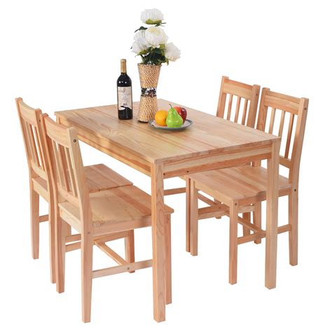 solid wooden pine dining table and 4 chairs set kitchen