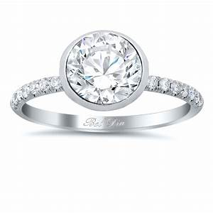 bezel set diamond engagement ring with pave diamond band With bezel set engagement ring with wedding band