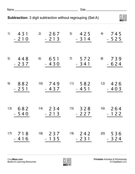 digits vertical division without regrouping subtraction worksheet 3 digit subtraction without