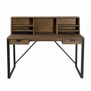 Bureau Bois Metal : bureau 2 tiroirs bois et m tal avec tag res dpi import ~ Teatrodelosmanantiales.com Idées de Décoration