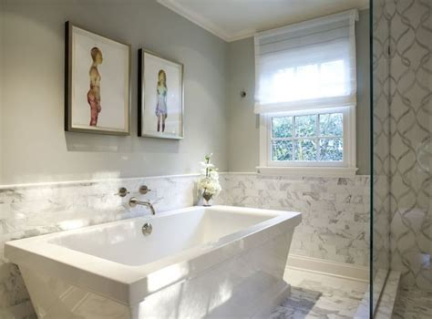 White Wainscoting Bathroom by Marks Frantz Bathrooms Marble Wainscoting White