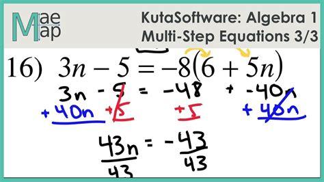 Fantastic Kuta Software Infinite Algebra 1 Multi Step Equations Answer Key Gallery Printable