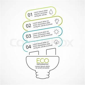 Vector Energy Efficient Light Bulb Eco Linear Infographic